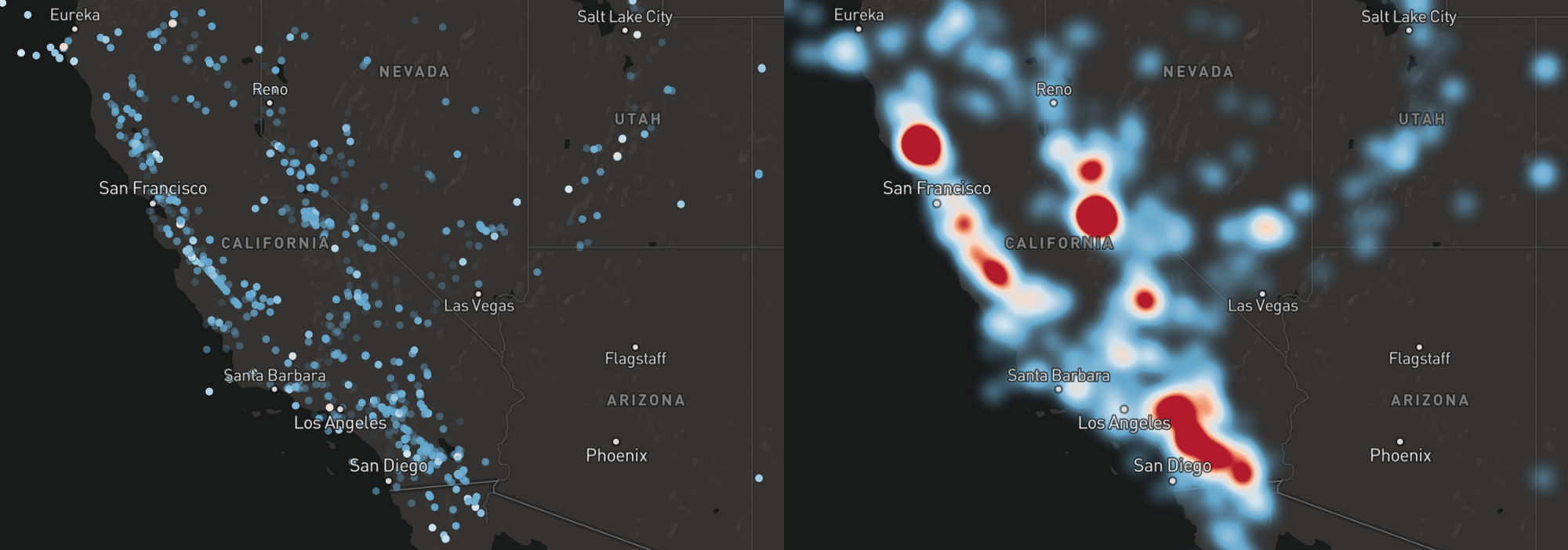 Introducing heatmaps in mapbox gl js points of interest circle left and heatmap right layers representing earthquakes in california gumiabroncs Image collections