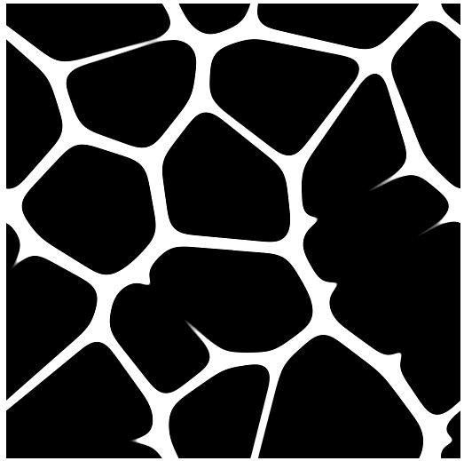 Output image of the first article. A tiling pattern made of black blobs.