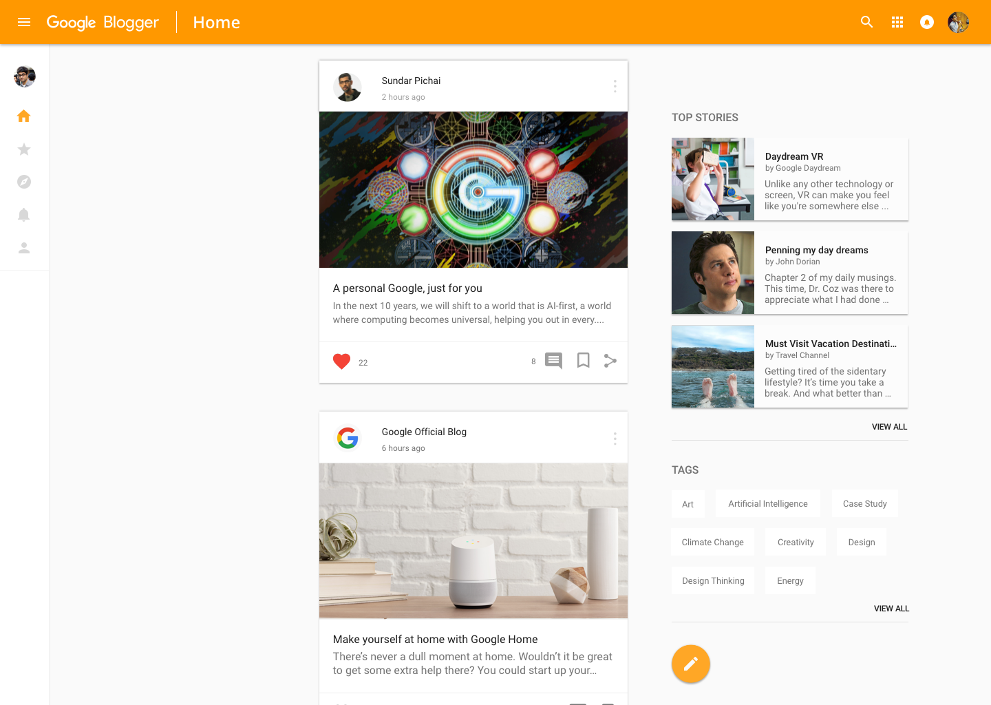 Material Design Case Study and Google Blogger Redesign Concept