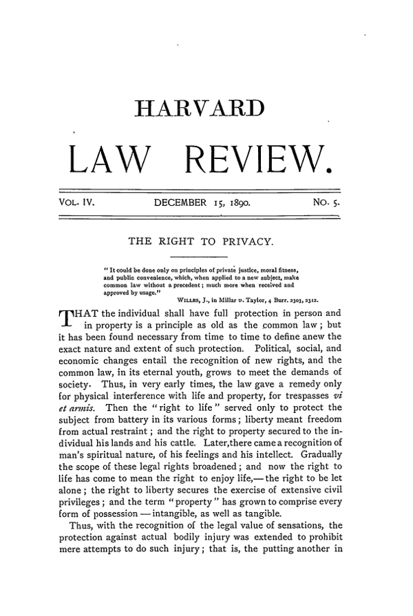 """""""The Right To Privacy"""" ~ December 15, 1890, Harvard Law Review"""