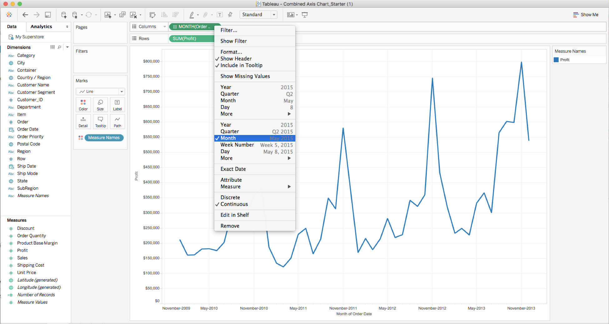 How to create a dual and synchronized axis chart in tableau we have a nice line chart already set up here if you would like to change the type of the chart to say a bar click on the drop down on nvjuhfo Images