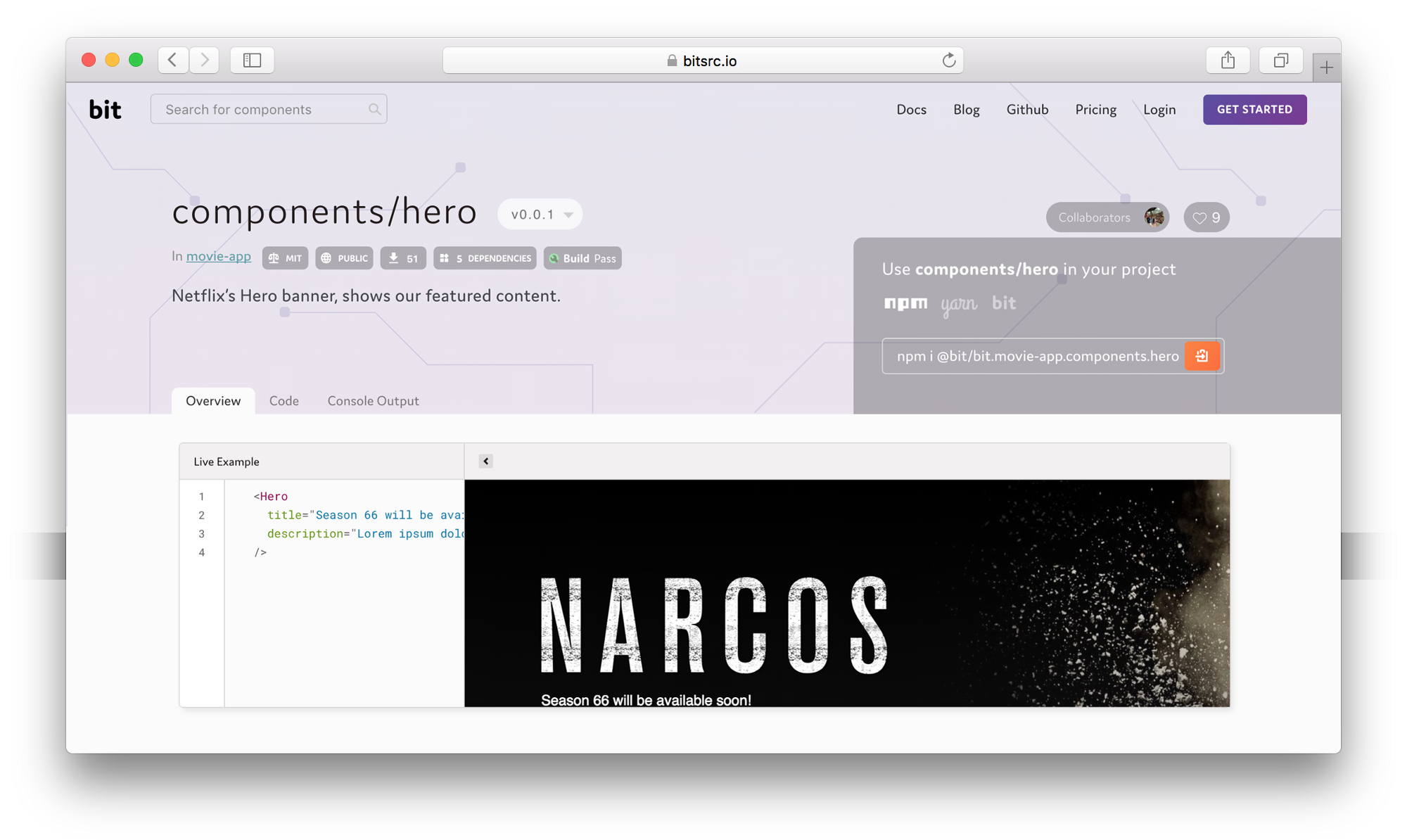 react hero component with bit