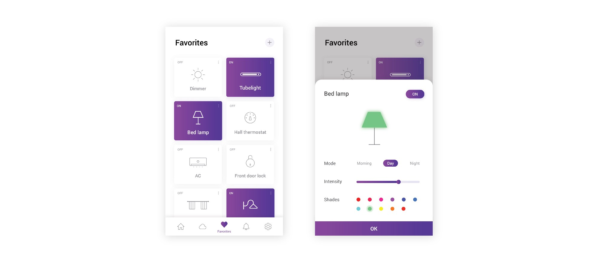 How I Designed Otomate Smart Home App Prototypr Design And Development Of An Automated Control System Using The Favorites Section Is A Dashboard Frequently Used Devices For Quick Access To Their Settings On Touching Particular Device Bottom Slider Comes