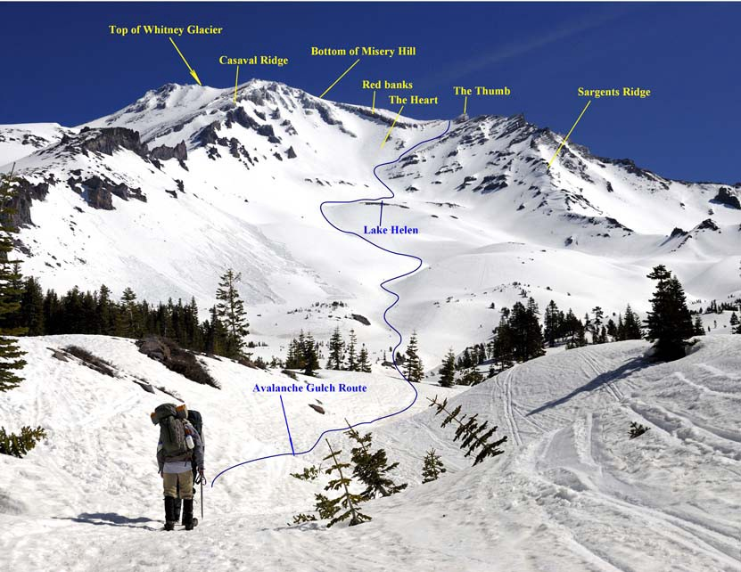 Avalanche Gulch Route (Photo Credit — Timberline Trails)