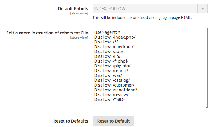 Magento 2 Robots.txt settings and the default file