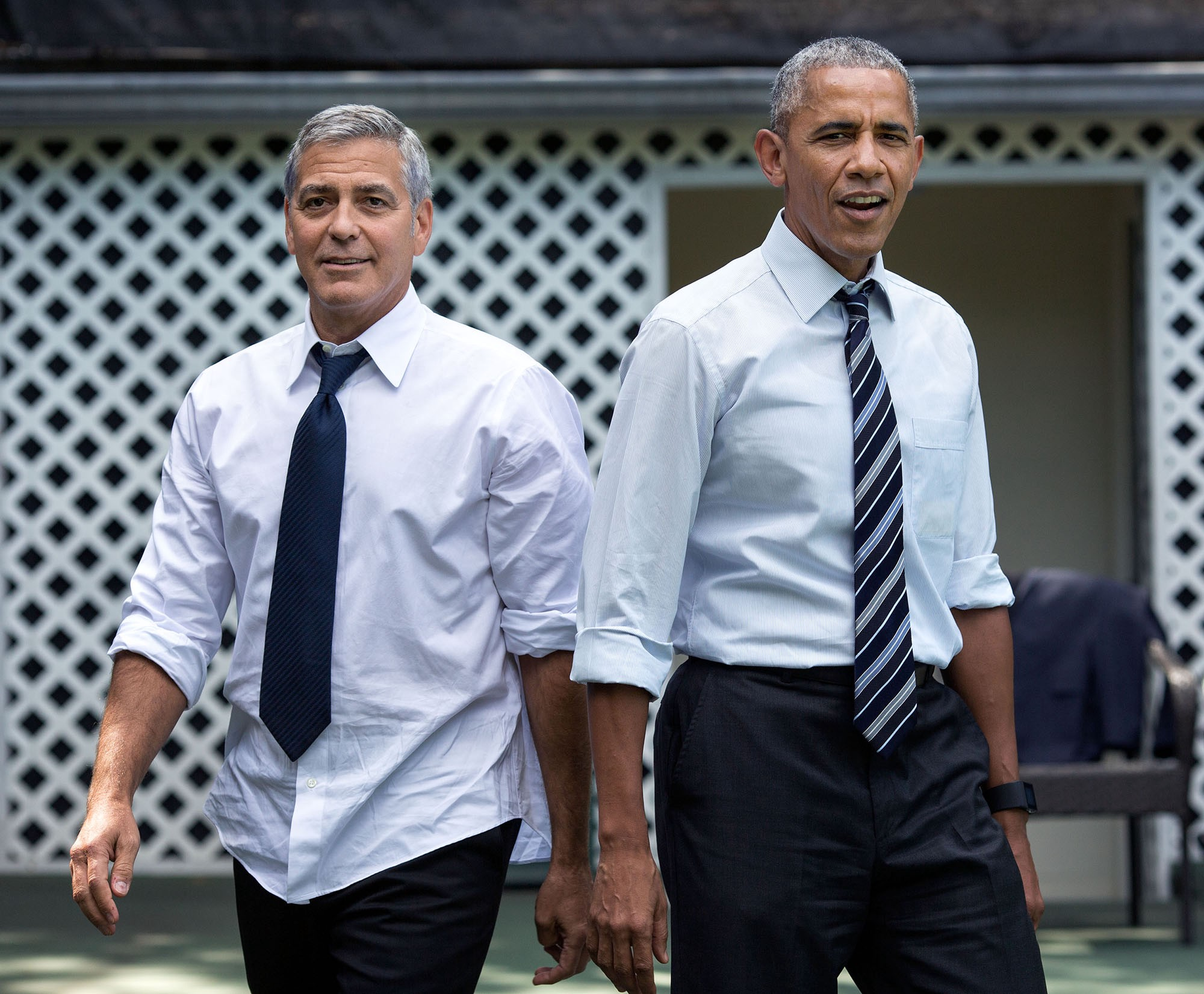 "Sept. 12, 2016 ""After a meeting with actor and human rights activist George Clooney, the President invited him and three of his colleagues to shoot hoops on the White House basketball court. This photo garnered a lot of attention when it was hung on the walls of the West Wing."" (Official White House Photo by Pete Souza)"