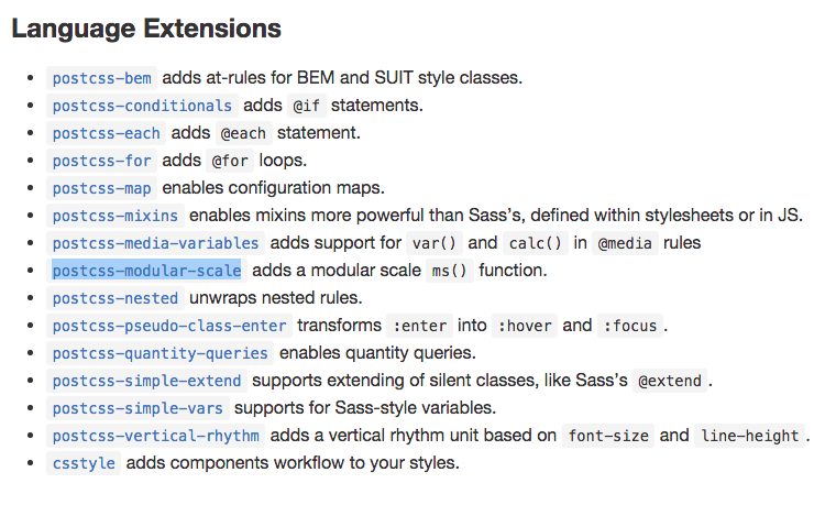 Language extensions of PostCSS. With BEM. Lots of BEM.