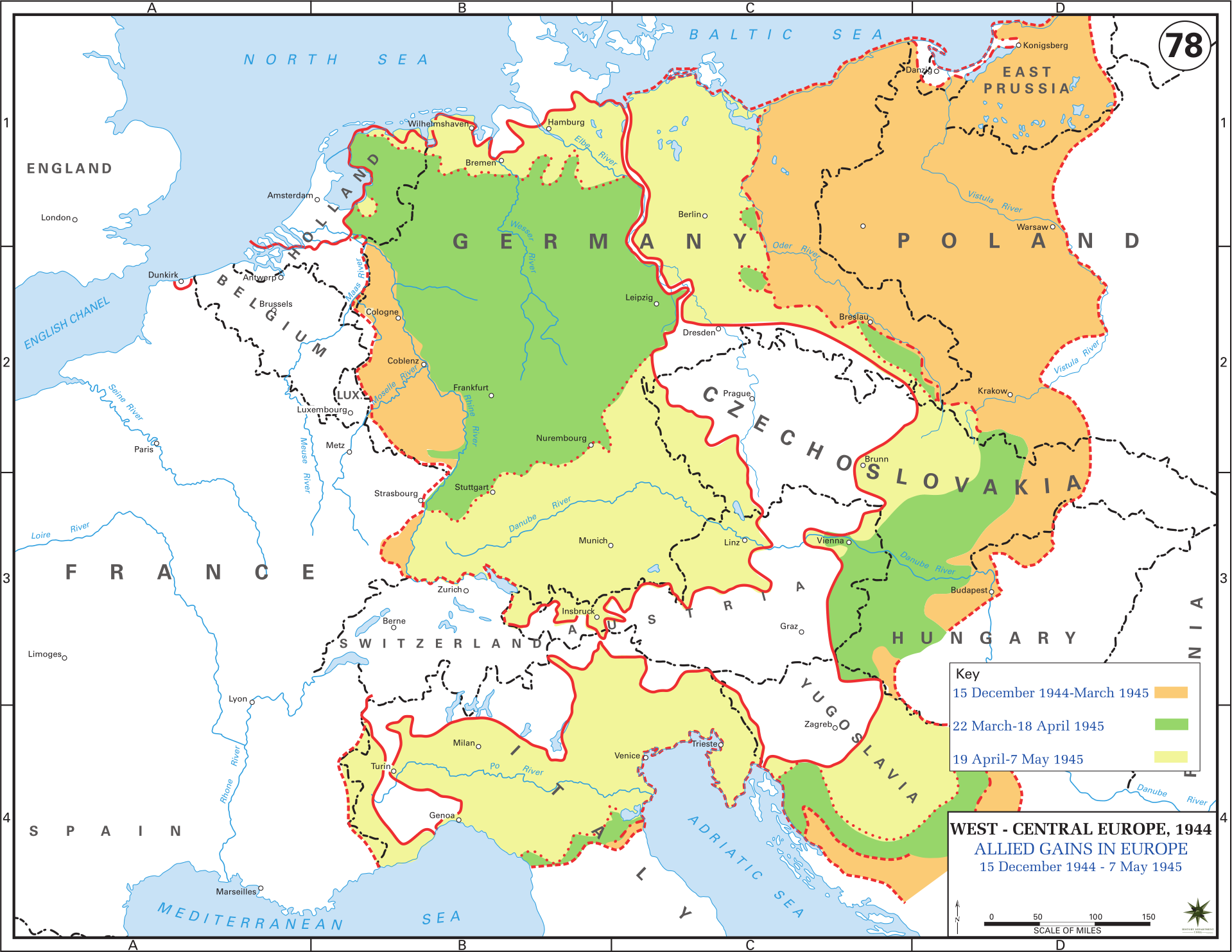 allied gains in europe december 1944 may 1945