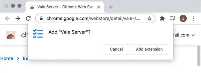 The new Vale Server extension requires no special permissions, and is entirely-warning free according the Chrome.