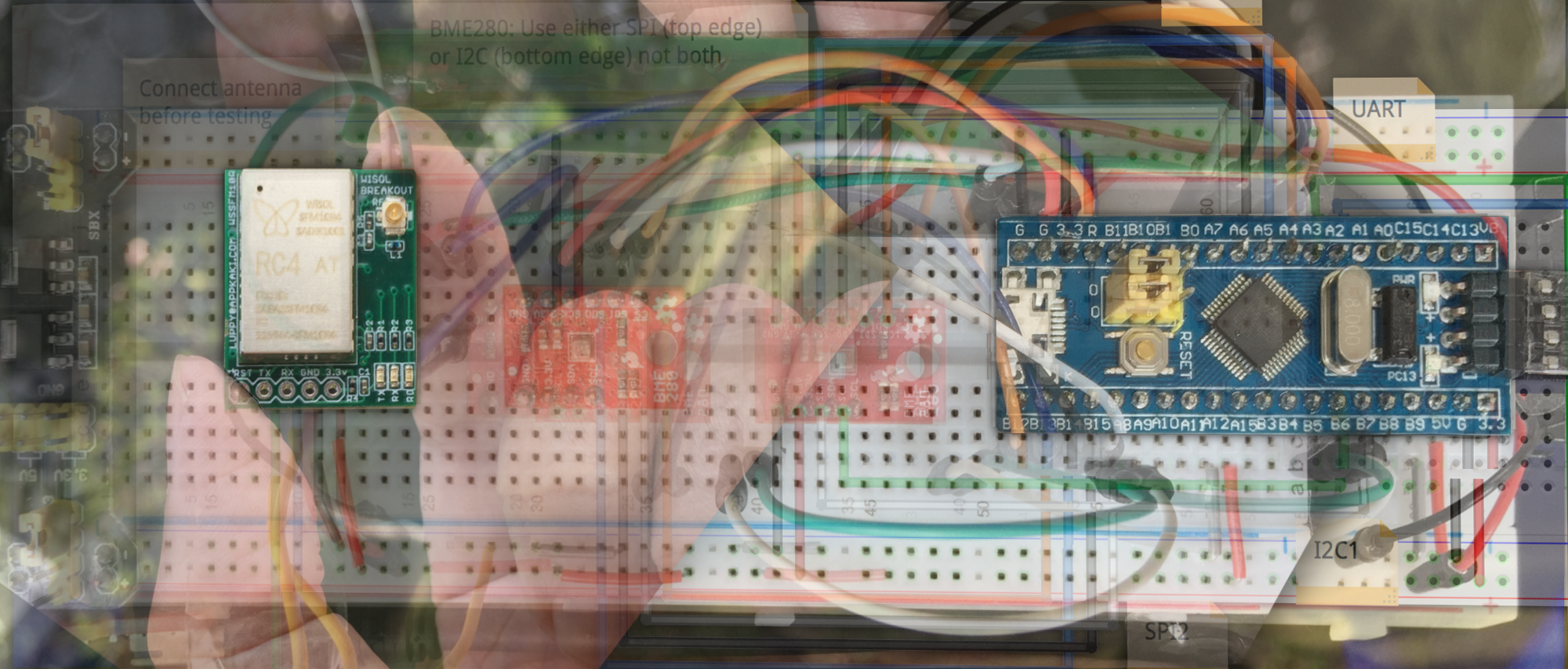 Connect Stm32 Blue Pill To Sigfox Coinmonks Medium Electrical Wiring Registration Board At Right With My Custom Wisol Breakout Left