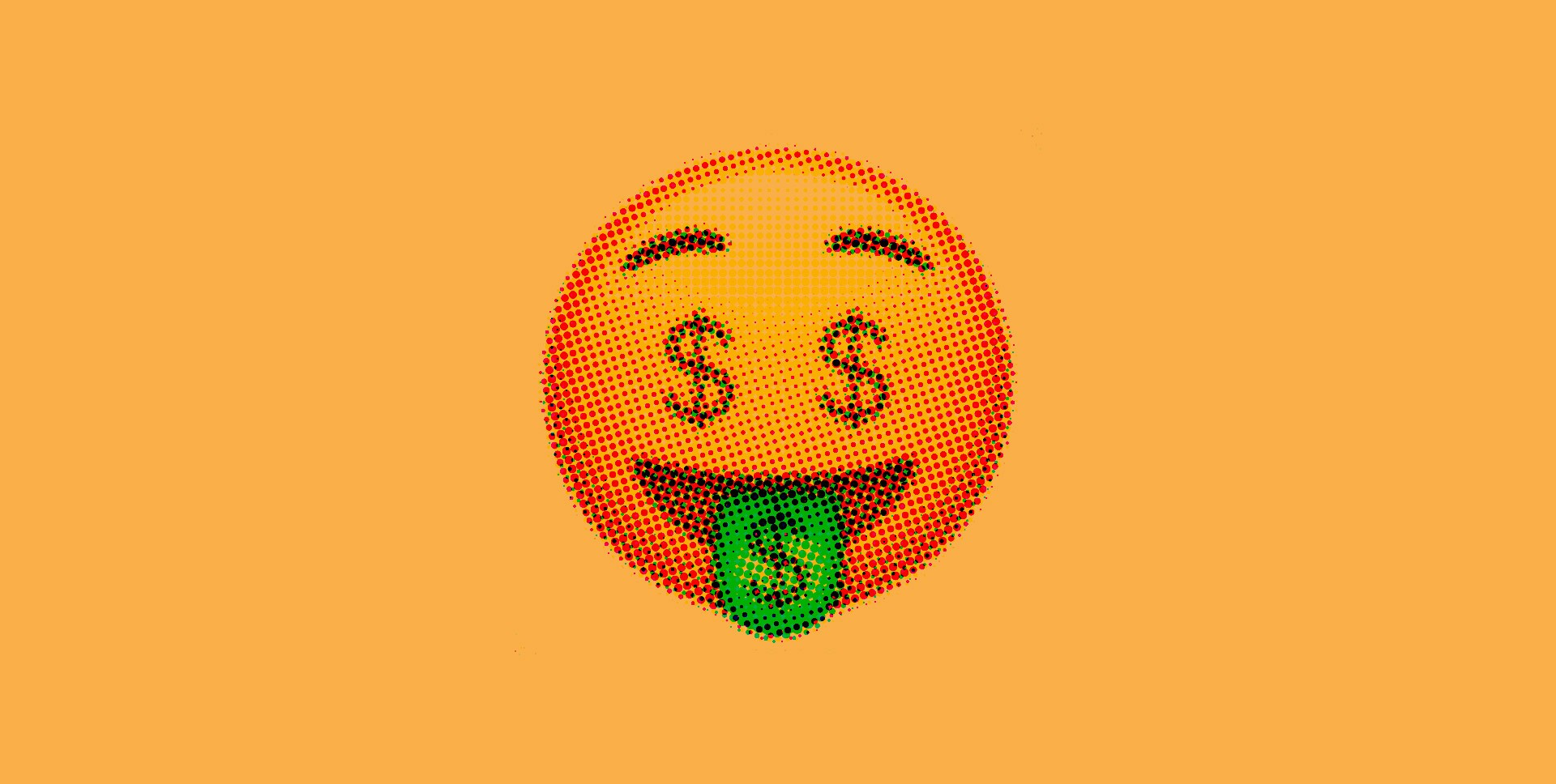Smiley emoji with dollar signs for eyes on a yellow background.