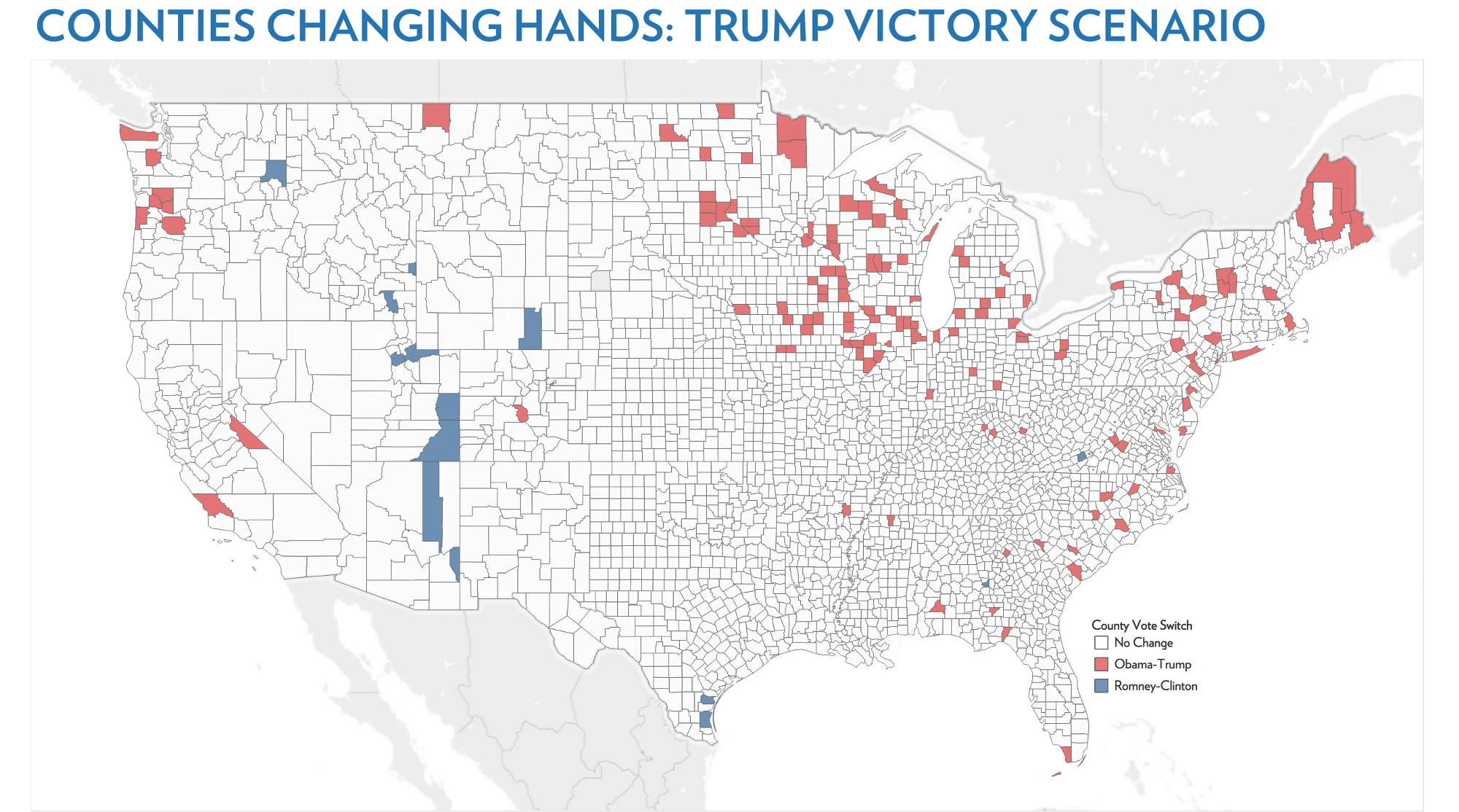 Below Are The Counties That Could Change Hands In A Trump Victory Scenario Or In A Scenario Where Clinton Wins The Popular Vote By 6 Points