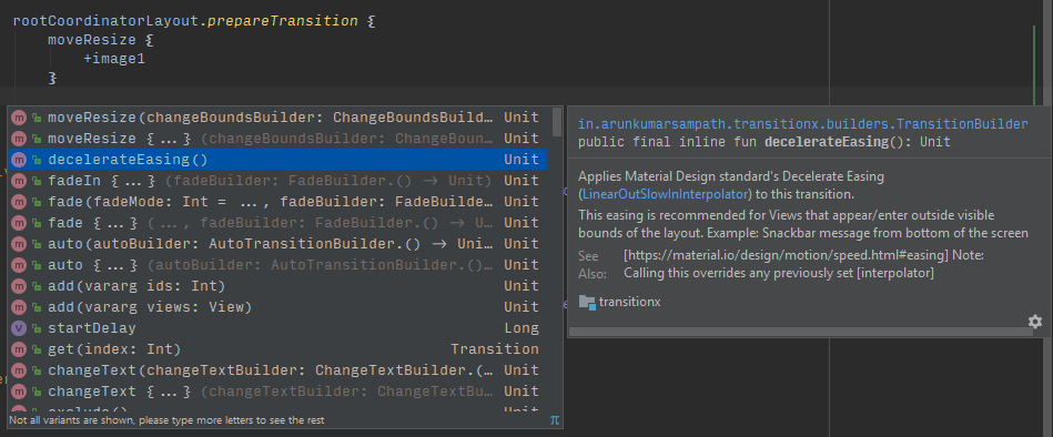 IDE autocomplete for all available transitions and properties
