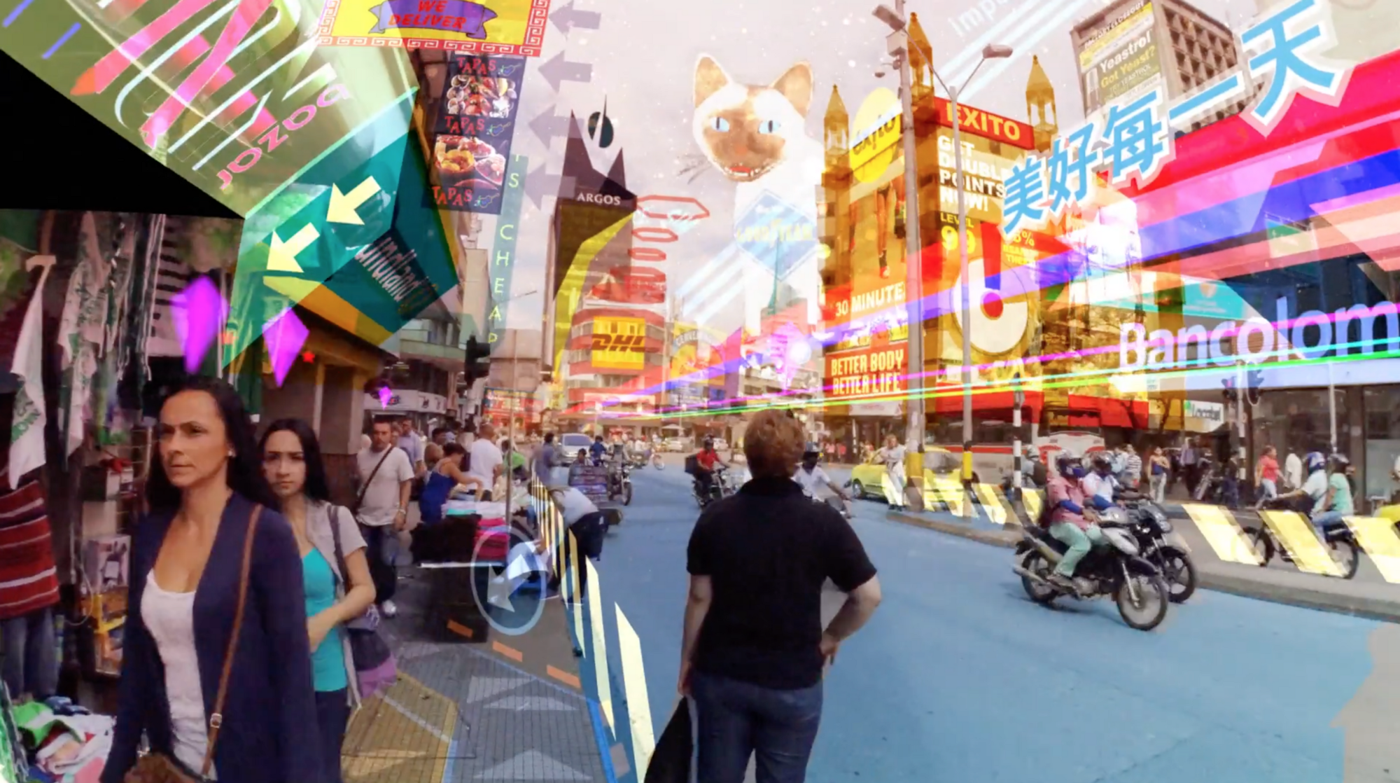 hyper reality Keiichi matsuda has released a short movie depicting a futuristic scenario where digital media and the physical world have merged to create a hyper reality.