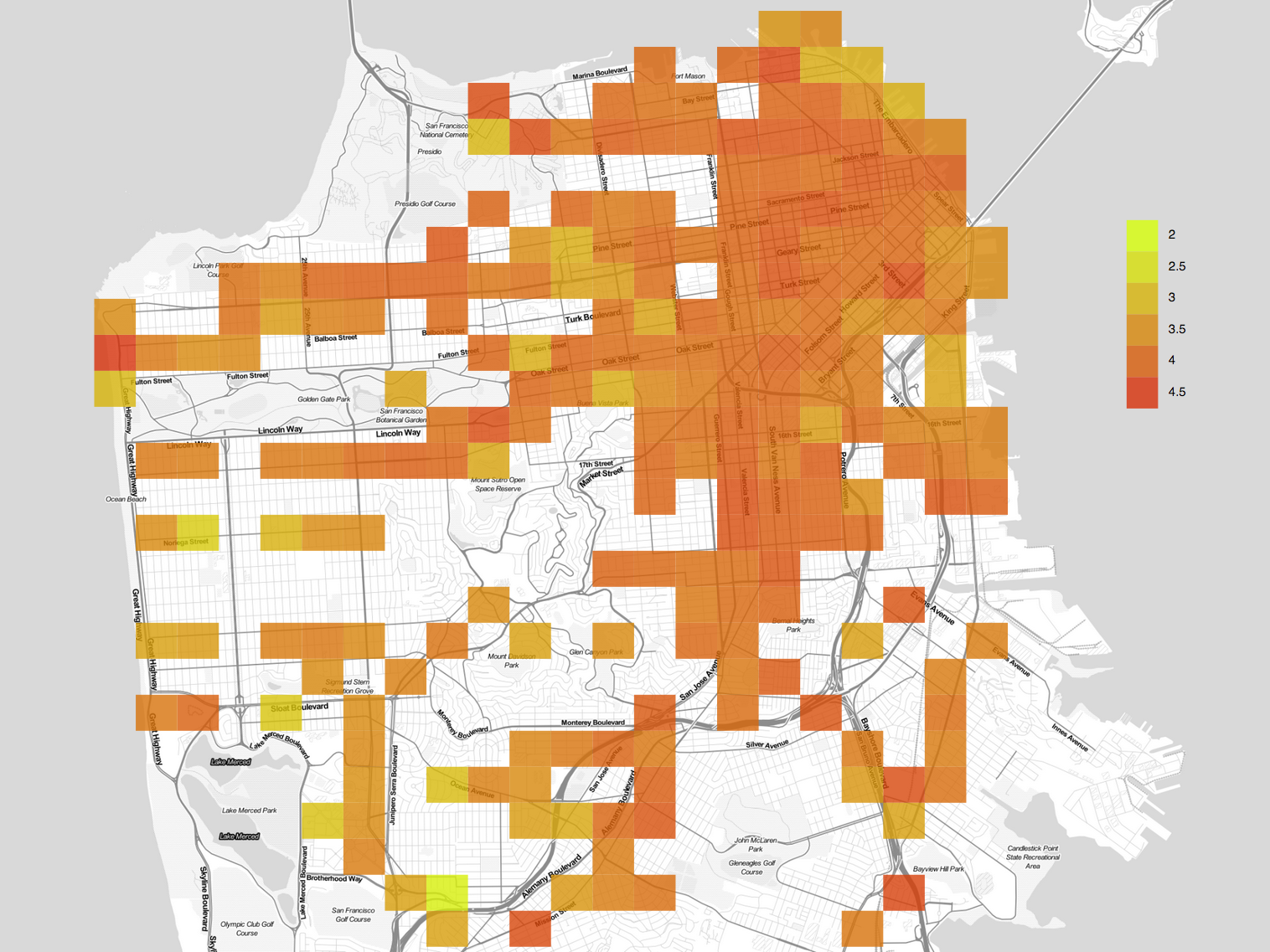 Mapping Yelp Reviews Across San Francisco Fun With Data And Stats