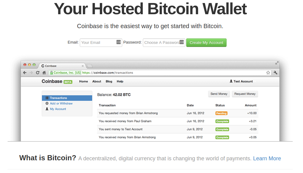 Coinbase screenshot from 2012