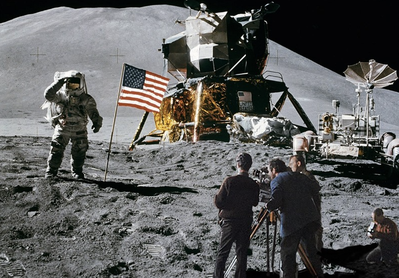 the success and faking of americas landing on the moon Historic misquote neil armstrong's famous quote that's one small step for man, one giant leap for mankind uttered by the american astronaut after becoming the first person to land on the moon .