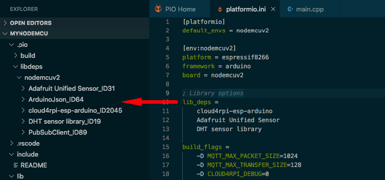 PlatformIO Library Dependencies