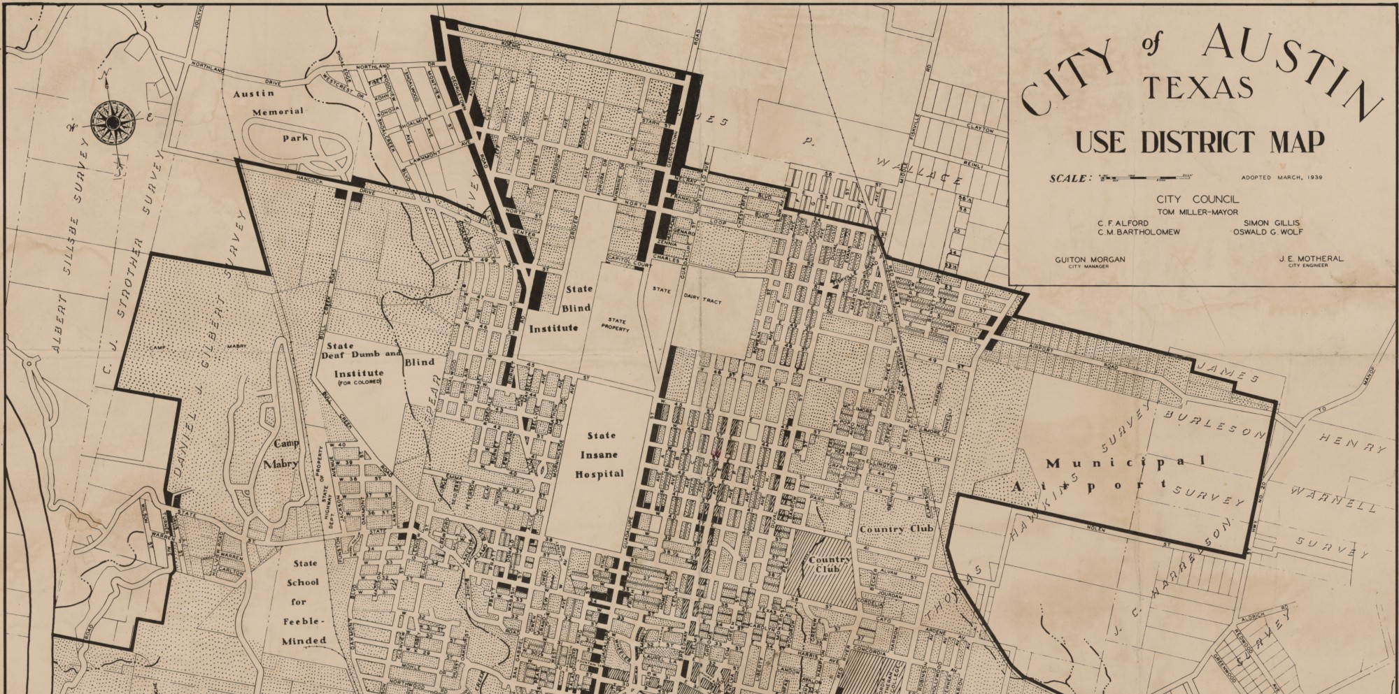City of Austin Texas Use District Map, 1939 By Austin Chamber of ...