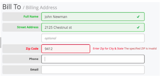 Example of form with validation and auto-complete functionalities that could help to complete checkout faster