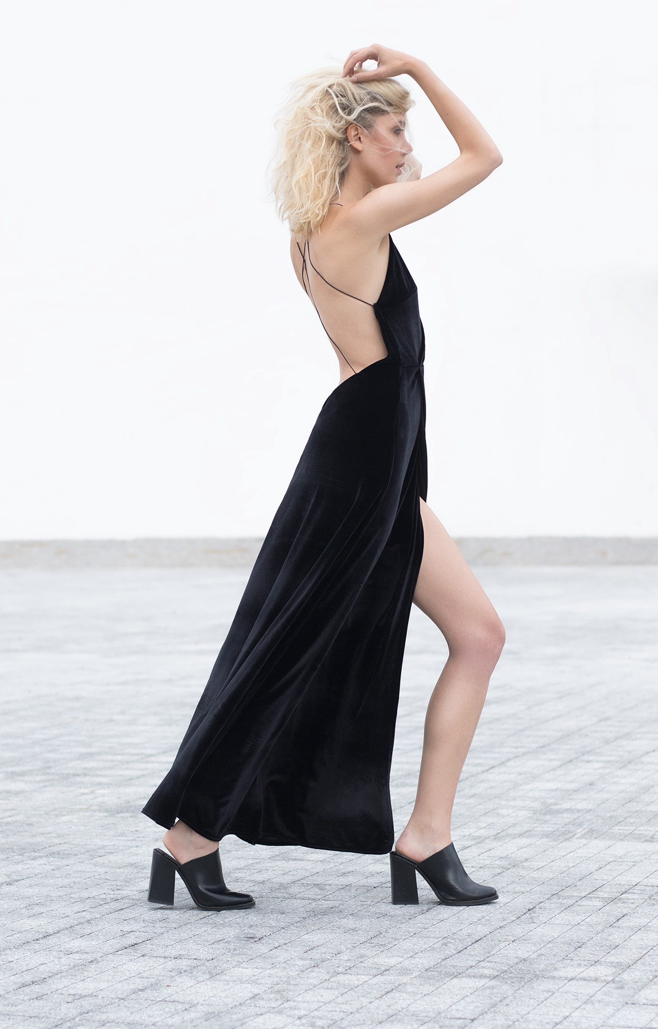 Black bareback velvet maxi dress