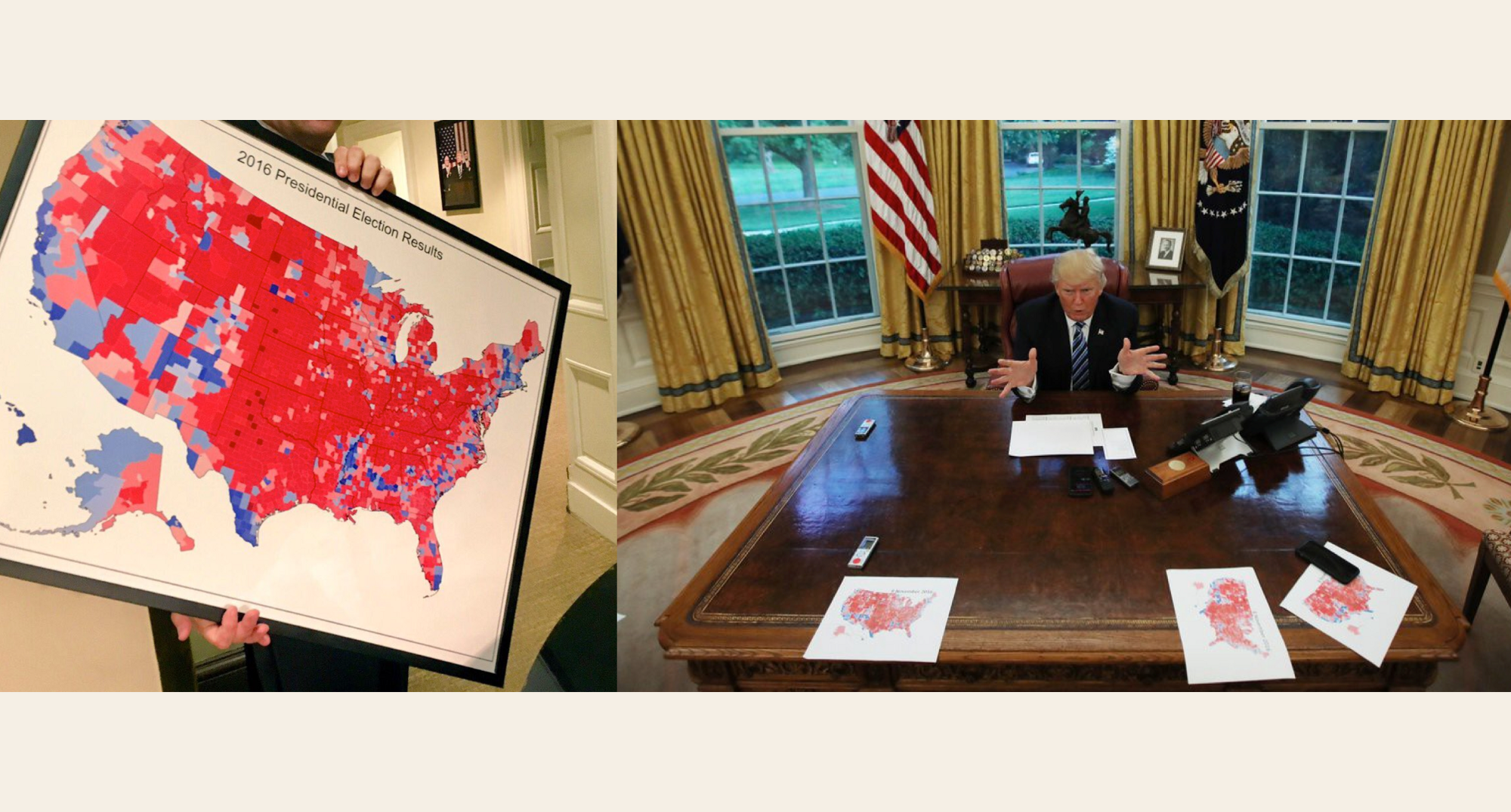 right trump in the oval office showing an election map to journalists po by carlos barria reuters