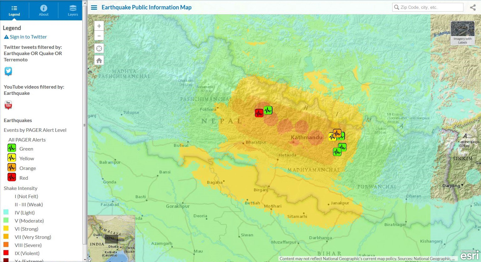 The nepal earthquake in five maps esri medium earthquake and social media map gumiabroncs Choice Image
