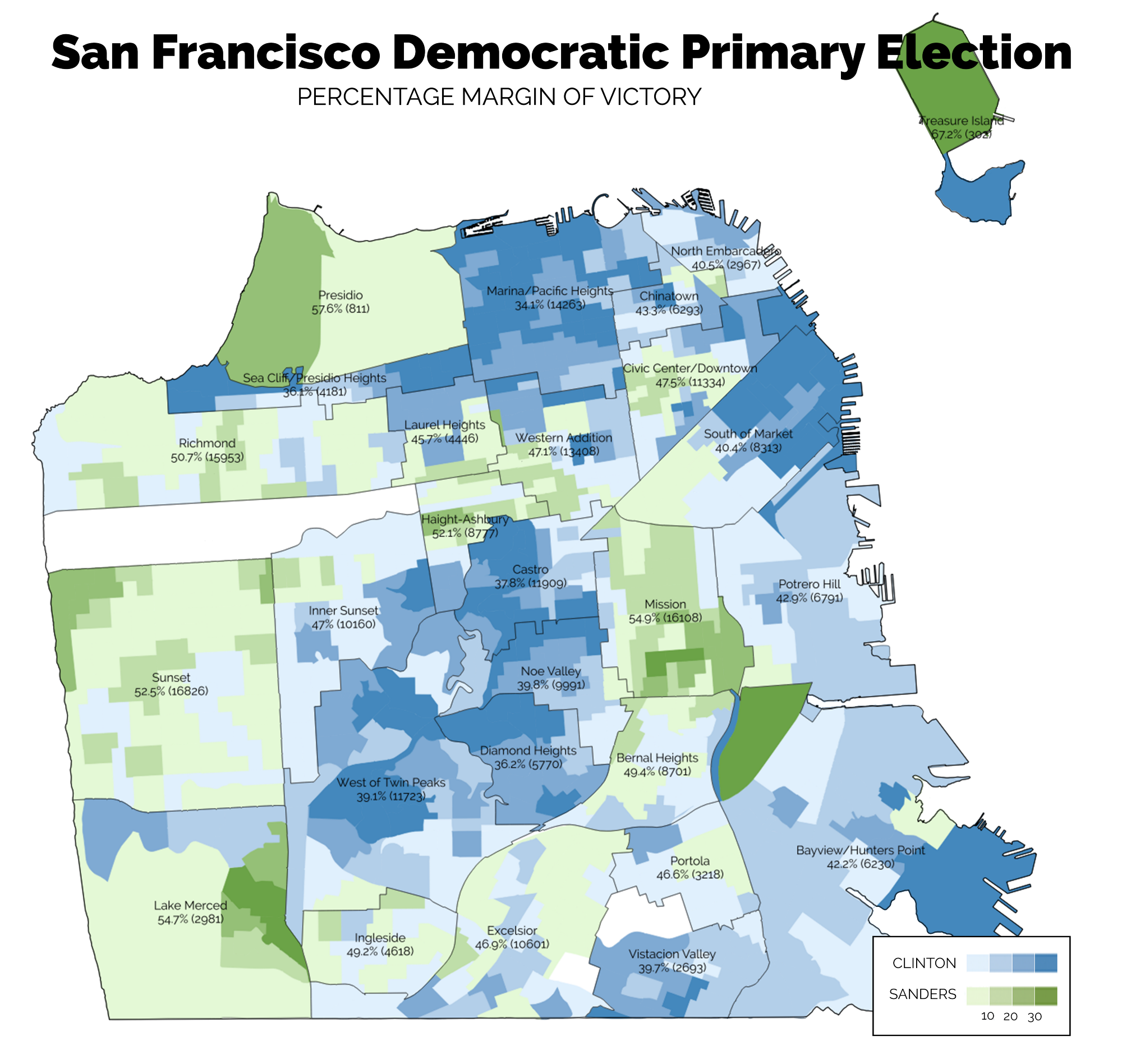 California PostPrimary Analysis San Francisco County - Us 2016 primary election map by precincts