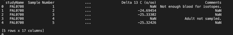 Output of df.head()