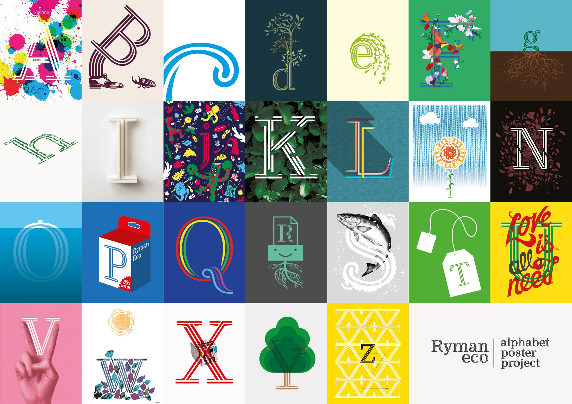Alphabet Poster Project The Ryman Eco Initiative Aims To Encourage Design Community Adopt Worlds Most Beautiful Sustainable Font