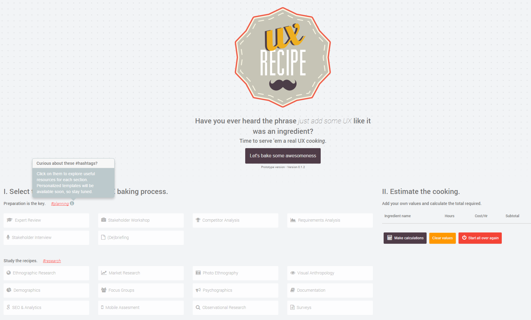 UX Recipe Screenshot