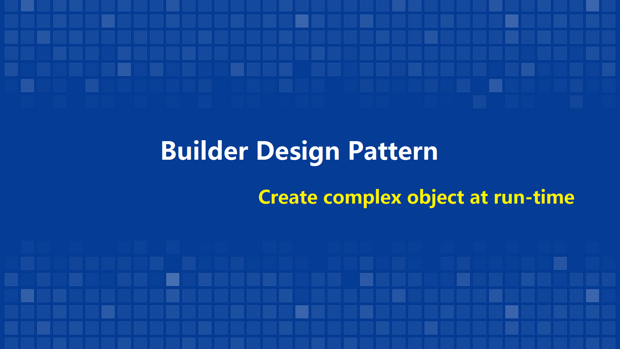 Create complex object at run time with builder pattern baditri Images