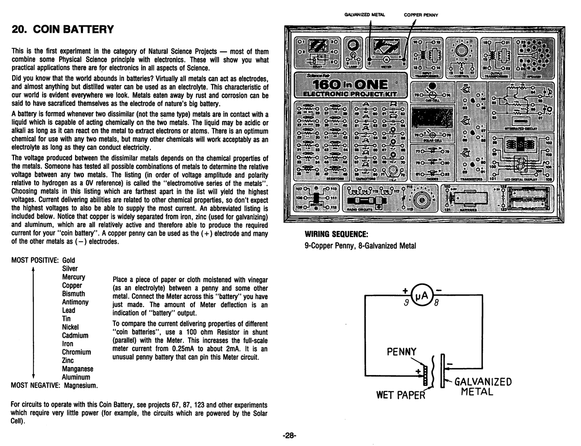 Electronic Project Kits Hands On With A Vintage 160 In 1 Circuit Projects Diagram Coin Battery And Related Which Itself Are About Creating From Galvanized Metal Cent