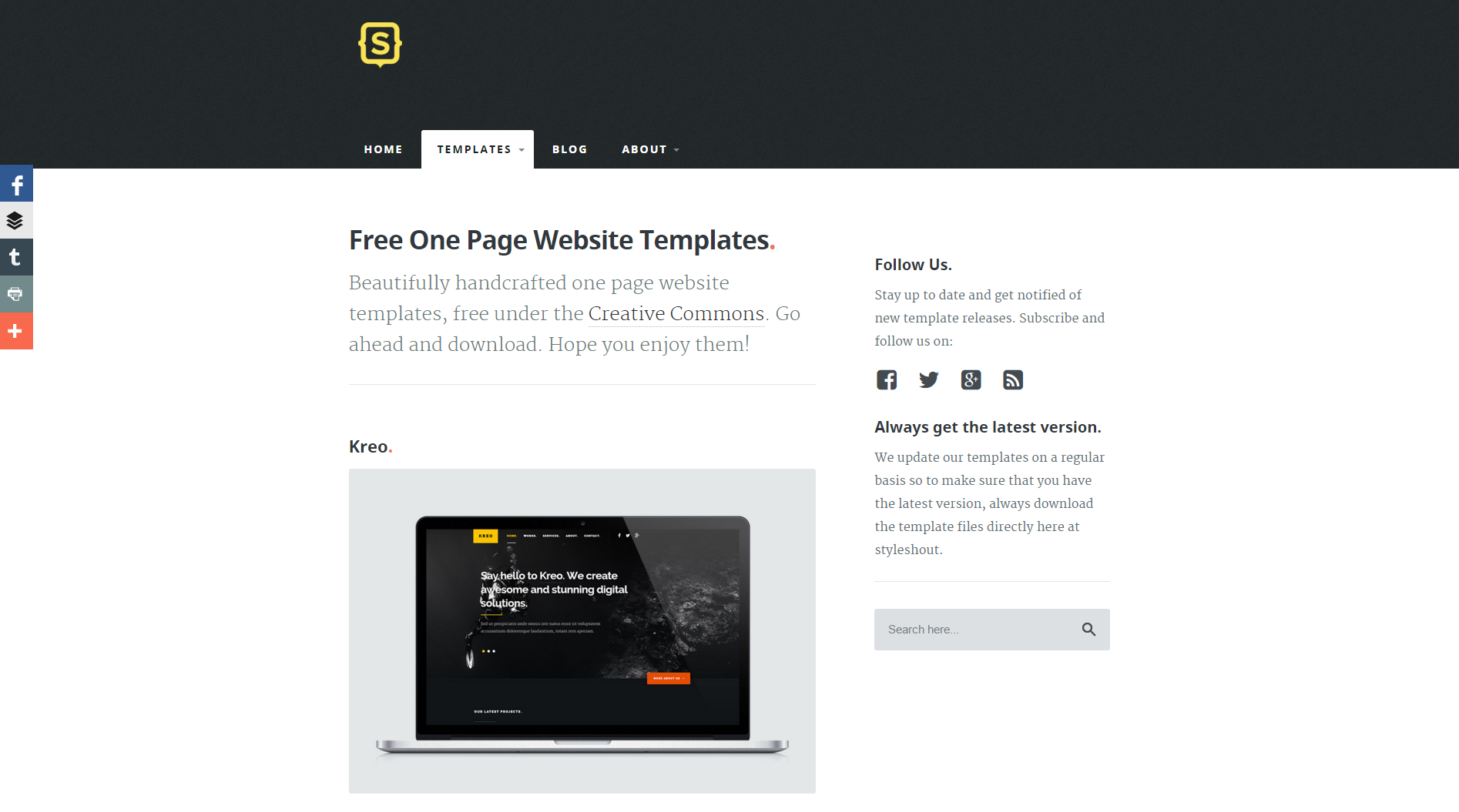 One page templates for designers prototypr stylehout screenshot maxwellsz