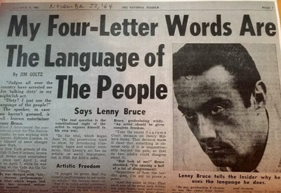 American newspaper covering Bruce's pioneering and controversial use of language.