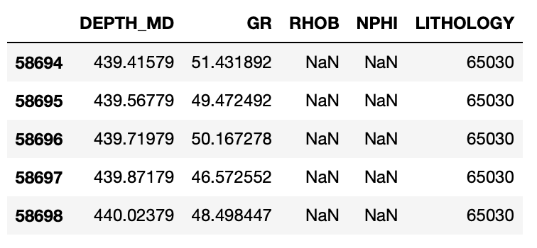 The first five rows of our pandas dataframe containing Gamma Ray (GR), Bulk Density (RHOB), Neutron Porosity (NPHI) and Lithology.