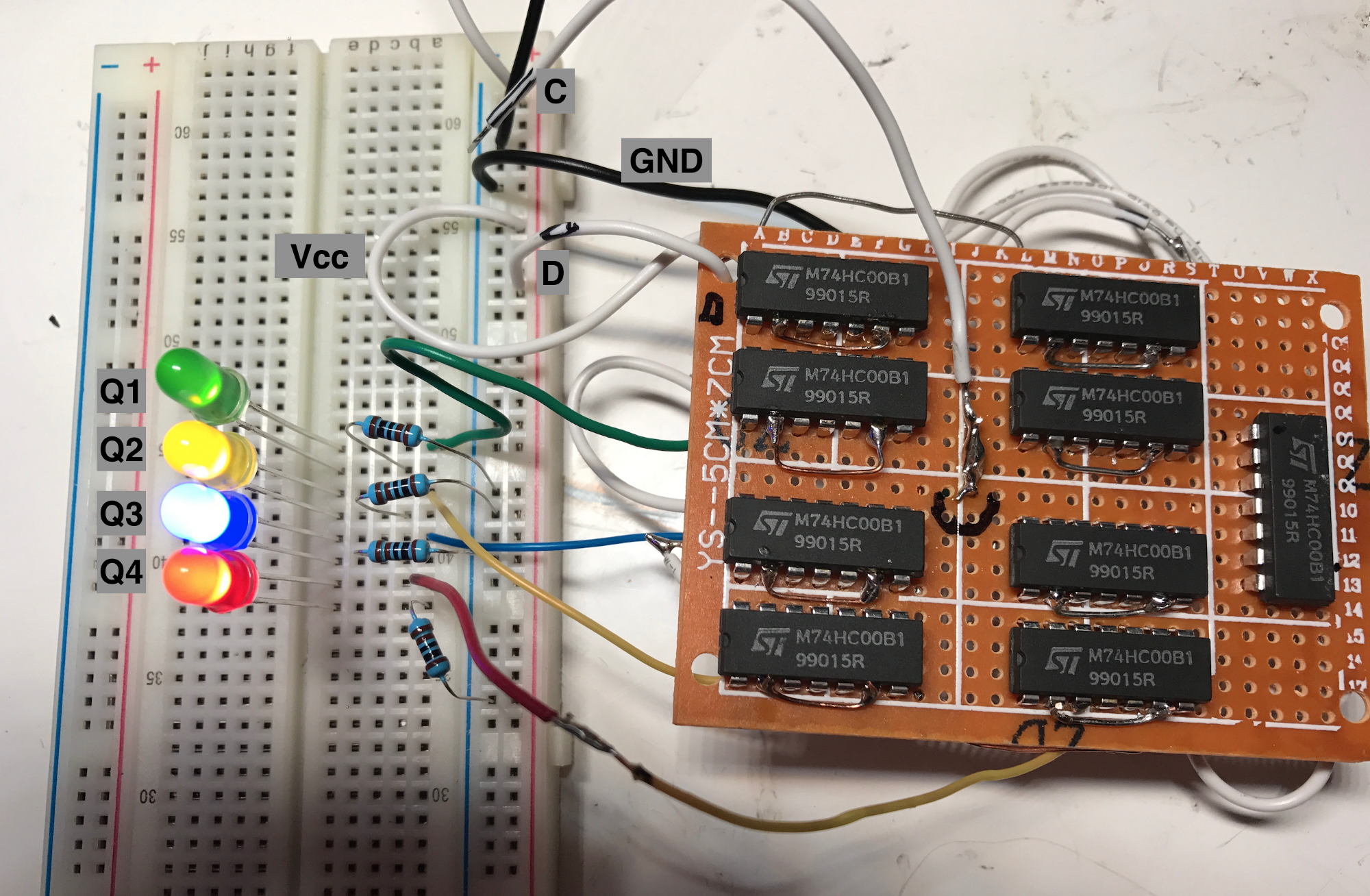 Building A 4 Bit Shift Register From 7400 Nand Gates For Gpio Output 7 Segment Decoder Logic Diagram Testing By Manually Plugging In The Clock And Data Lines Into Power Ground Seems To On Falling Edge