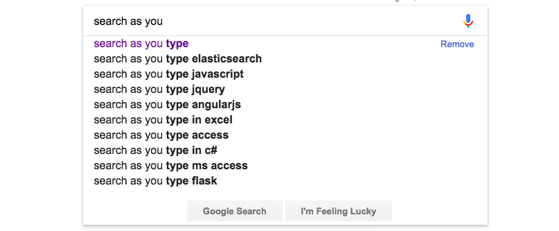 Suggestions when typing on Google