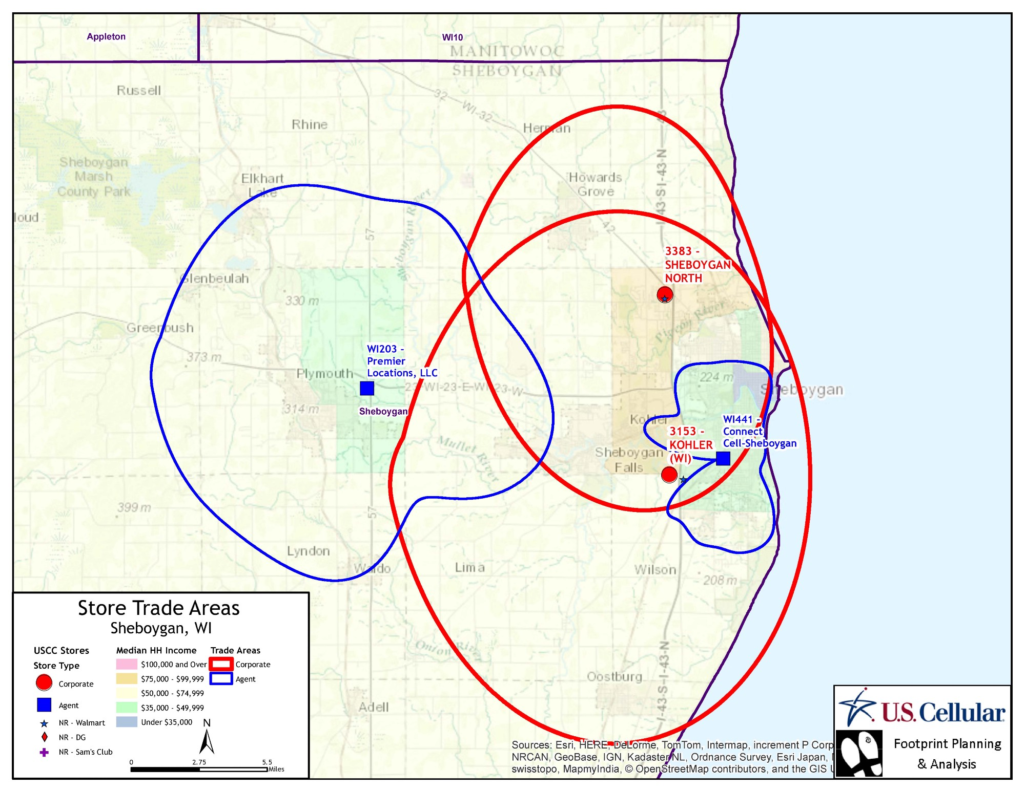 Customer Derived Trade Area Maps Developed With Esri Business Analyst Desktop Help U S Cellular Optimize Store Coverage In Its Markets Example