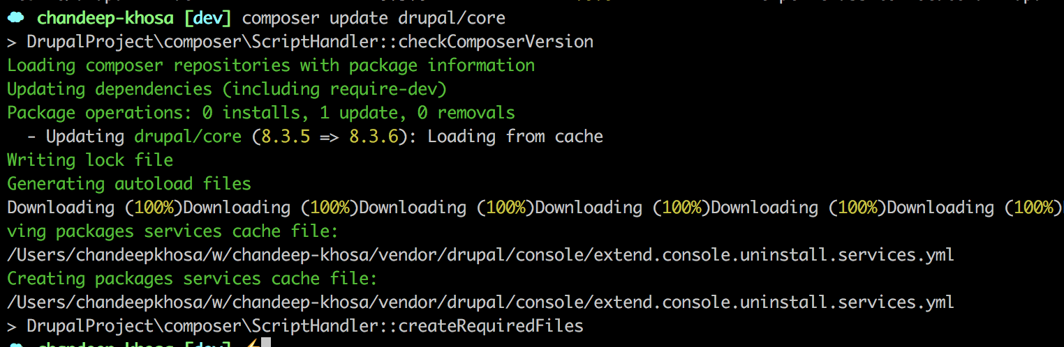 Updating drupal with drush