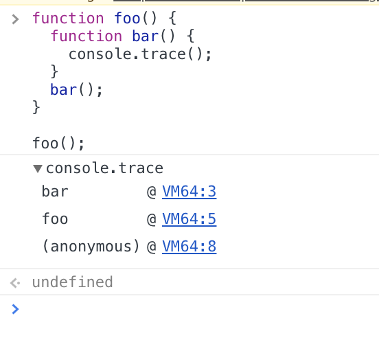 The output of console.trace()