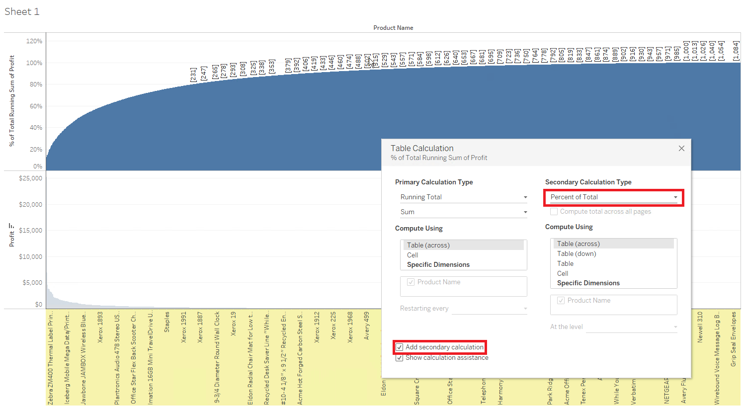 Tableau Pareto Chart 2080 Top Products Customers