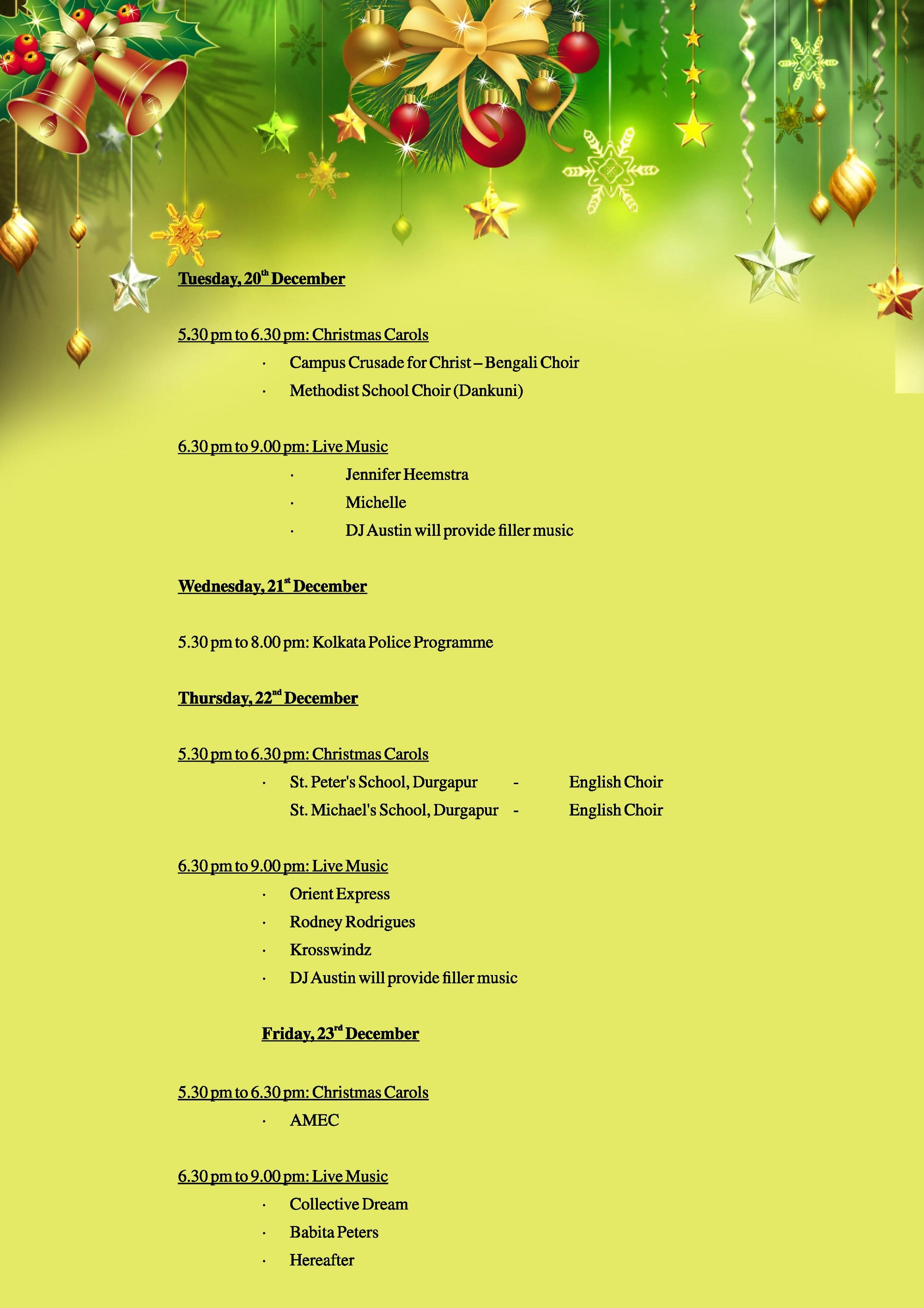 here is the complete schedule of events at allen park during kolkata christmas festival