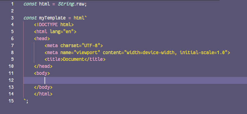 HTML syntax highlighting in a JS file