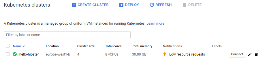 Kubernetes cluster on GKE
