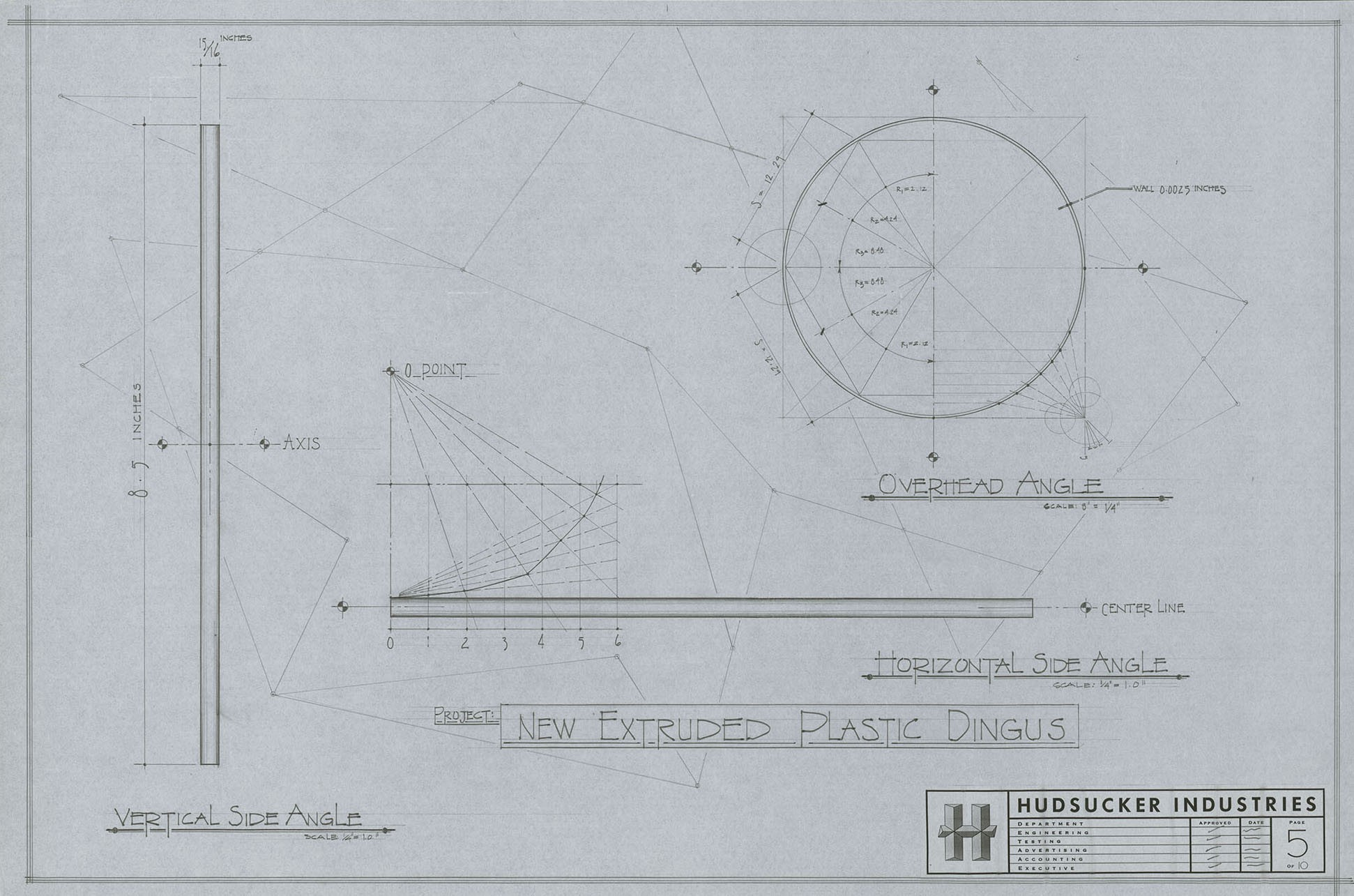 What happens on a typical day in the ultimate movie library the new extruded plastic dingus prop blueprint from the hudsucker proxy from the dennis gassner production design drawings malvernweather Image collections