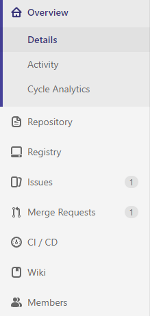 Sidebar in the repository view of a GitLab repository