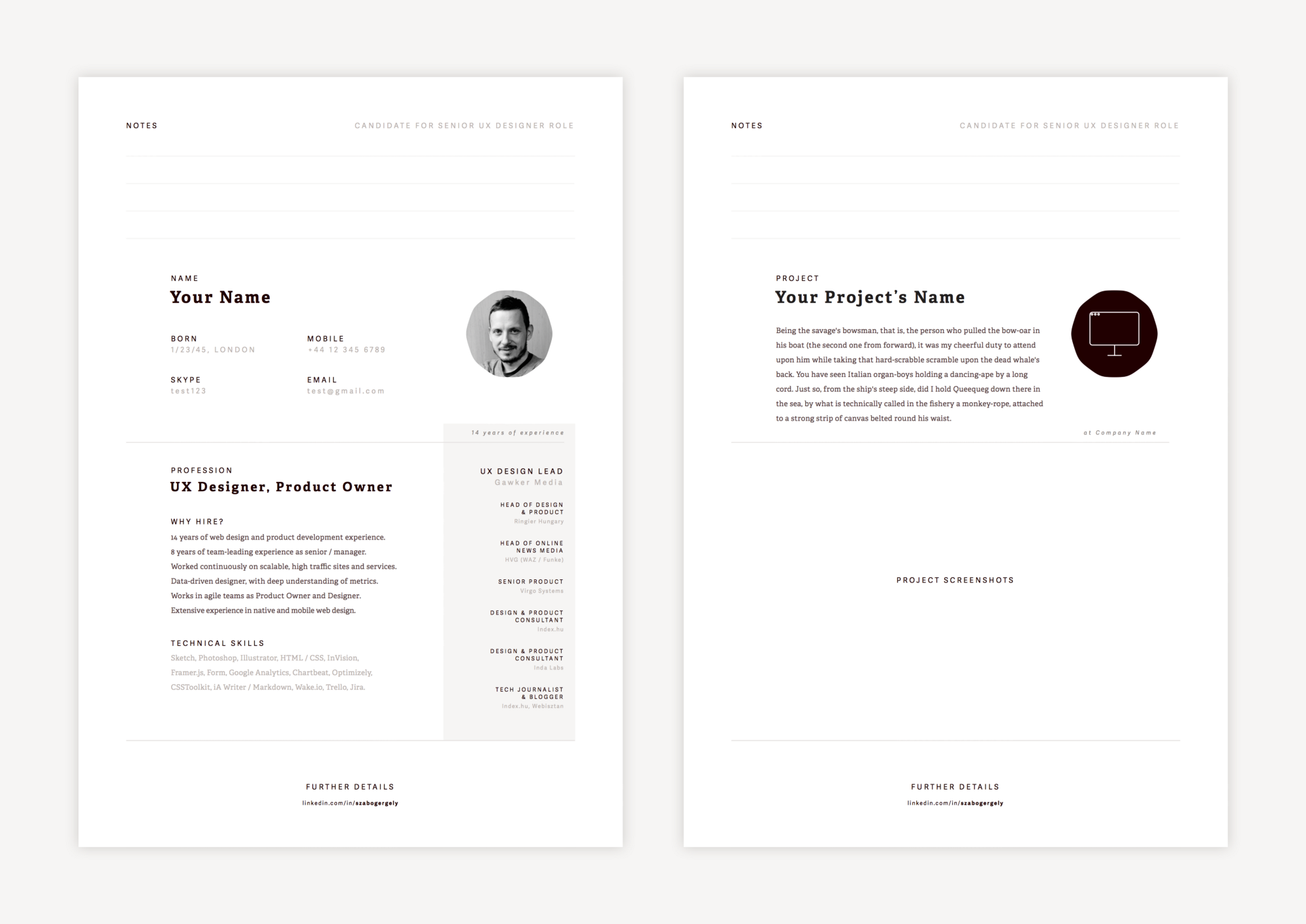 i created a section in the top of the template where the hiring person can leave some notes - Creating A Resume Template