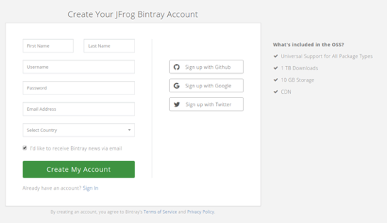 Create a Bintray account
