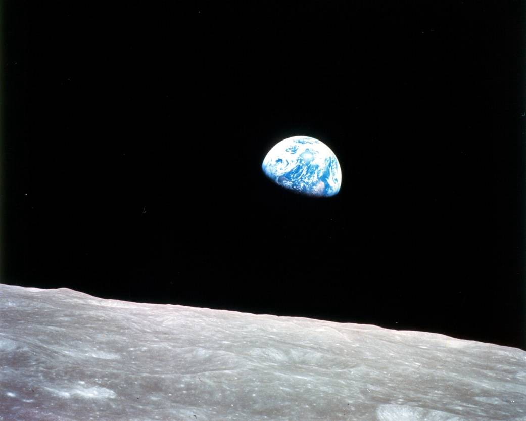 A photo of the Earth, as seen from the moon.